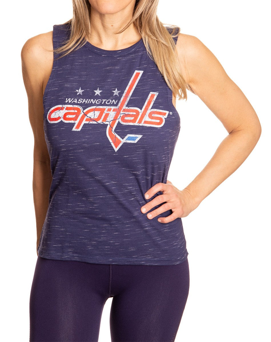 Ladies NHL Team Logo Crew Neck Space Dyed Sleeveless Tank Top Shirt- Washington Capitals Full Front View With Team Logo