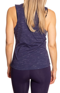 Ladies NHL Team Logo Crew Neck Space Dyed Sleeveless Tank Top Shirt- Toronto Maple Leafs Full Back View No Logo