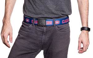 NHL Mens Woven Adjustable Team Logo Belt- Montreal Canadiens - Man wearing belt in front