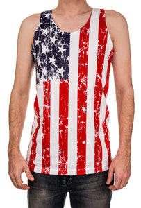 Mens USA Flag Tank Top FRONT