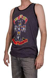 Men's Guns N Roses Appetite for Destruction Tank Top Side View Man Wearing Tank and Jeans