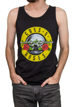Load image into Gallery viewer, Men's Guns N Roses Bullet Logo Tank Top Front View Tank Top Man With Hand In Pockets