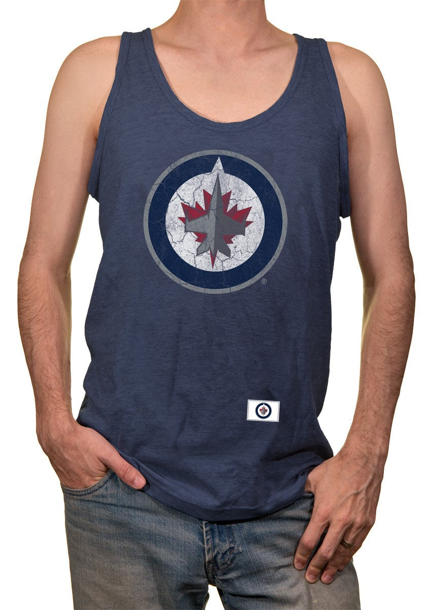 Winnipeg Jets Tank Top for Men Front View. Distressed Team Logo Printed in Middle of Chest on Blue Tanks.