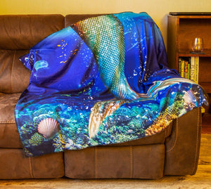 Realistic Mermaid Tail Blanket Draped Over Couch