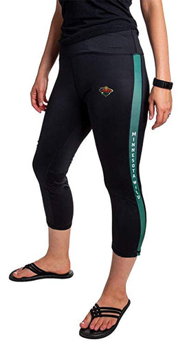 NHL Women's Athletic Capri Workout Leggings- Minnesota Wild Front