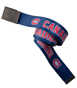 NHL Mens Woven Adjustable Team Logo Belt- Montreal Canadiens Belt Swatch