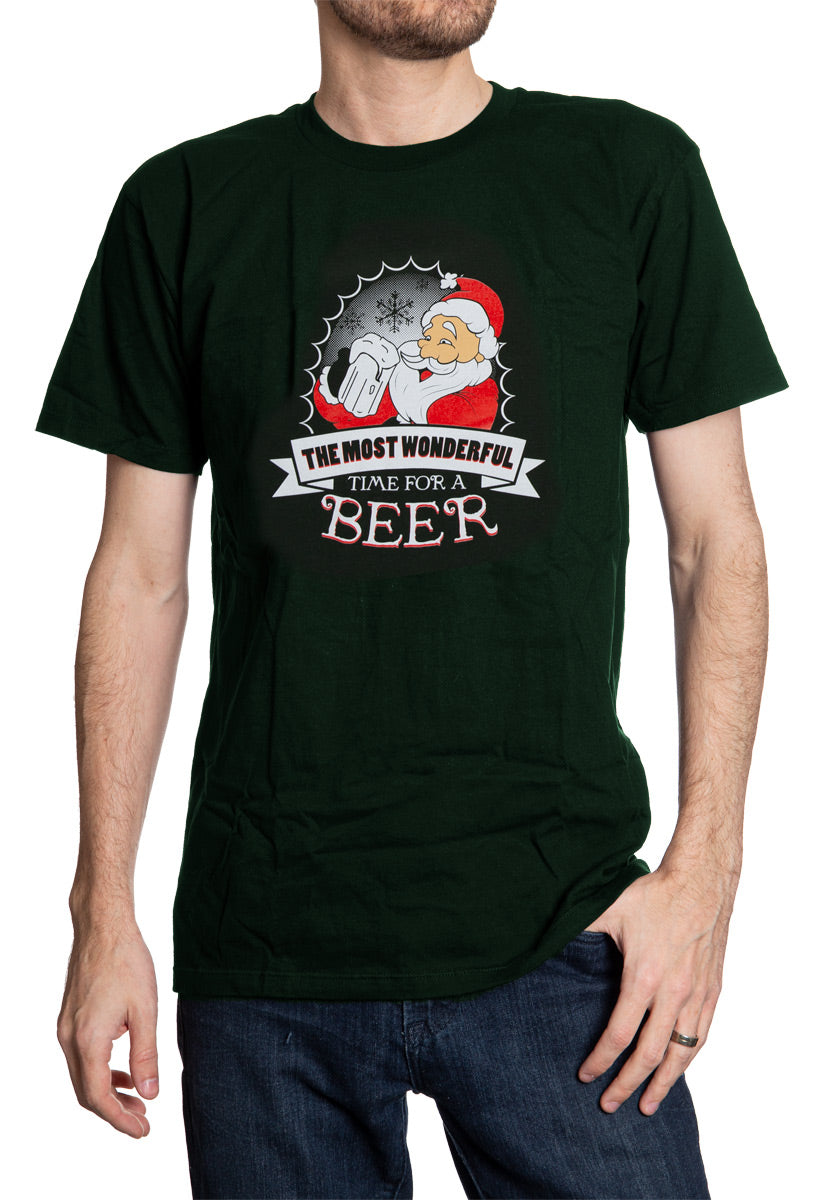 Most Wonderful Time For Beer Unisex Christmas T-Shirt worn by man dark green