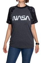 Load image into Gallery viewer, NASA Unisex's Glow in The Dark Raglan T-Shirt- Worm Logo Woman Front