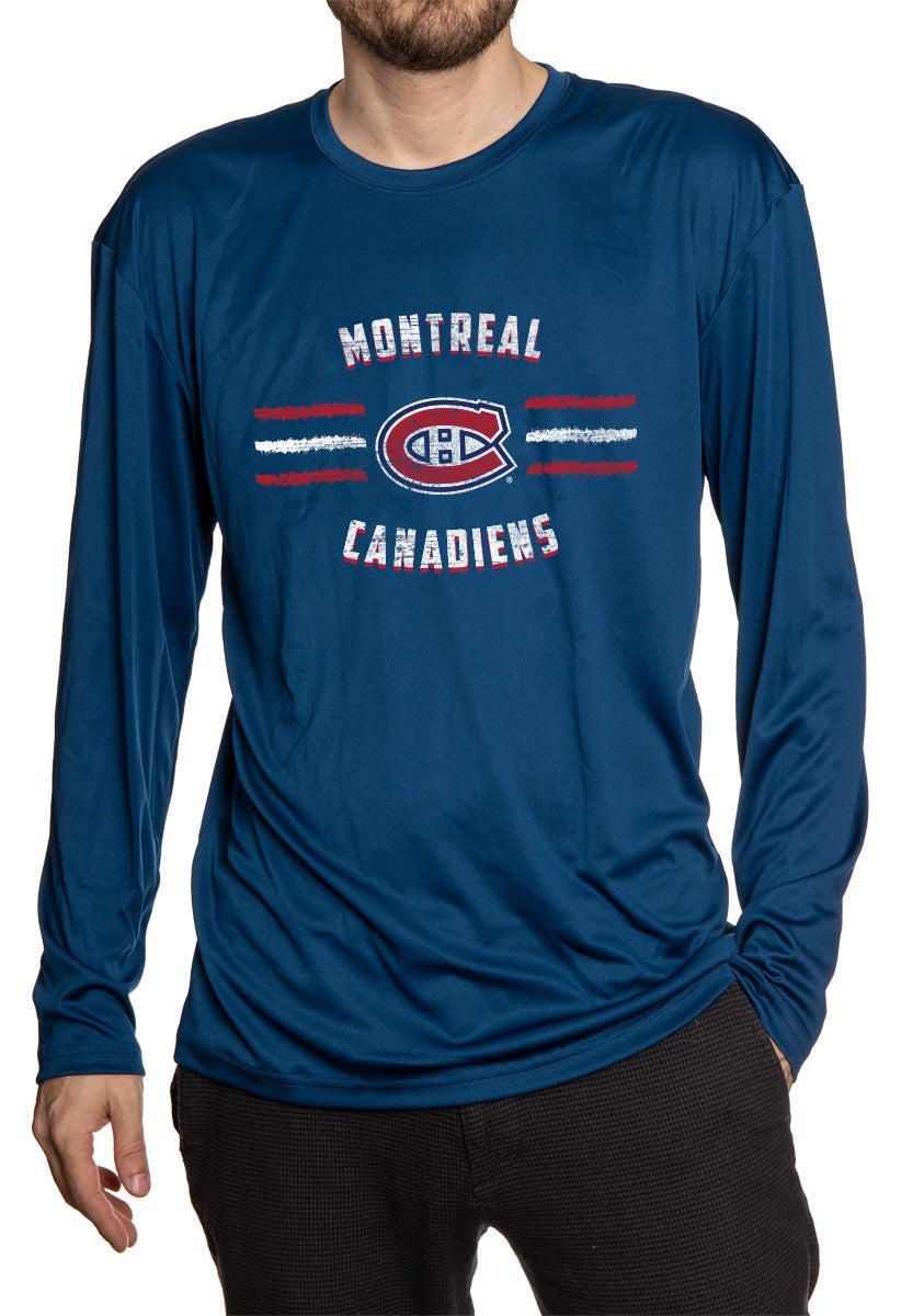 Montreal Canadiens Long Sleeve Rashguard for Men - Distressed Lines