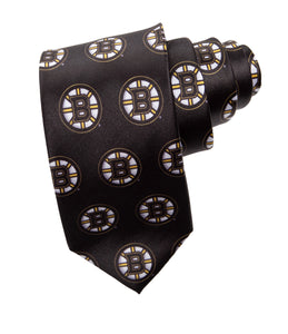 NHL Men's All Over Team Logo Neck Tie- Boston Bruins