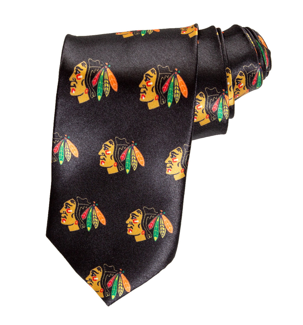 NHL Men's All Over Team Logo Neck Tie- Chicago Blackhawks