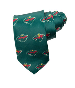 NHL Men's All Over Team Logo Neck Tie- Minnesota Wild