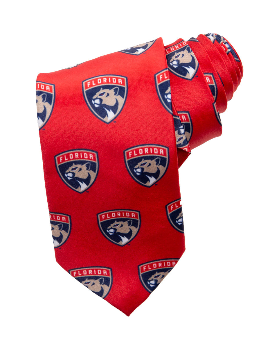 NHL Men's All Over Team Logo Neck Tie-Florida Panthers