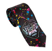 "Load image into Gallery viewer, Officially Licensed Bob Ross ""Splatter"" Tie   Rolled Up Black Tie With Multiple Colour Paint Splatters and Happy Little Accidents Bob Ross Face"