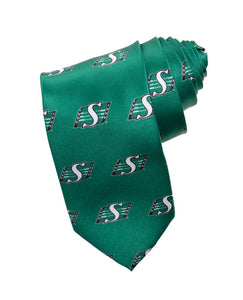 Mens CFL Logo Necktie- Saskatchewan Roughriders