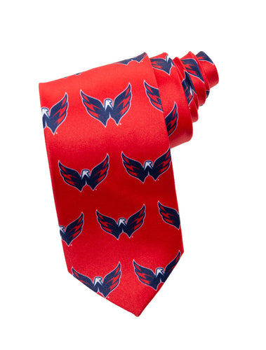 NHL Men's All Over Team Logo Neck Tie- Washington Capitals