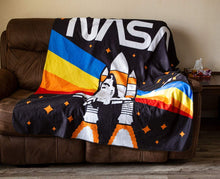 Load image into Gallery viewer, NASA Rocket Rainbow Blanket- Rainbow (Draped Over Couch)
