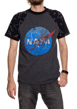 Load image into Gallery viewer, NASA Unisex's Glow in The Dark Raglan T-Shirt- Meatball Logo Front