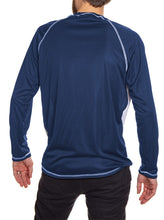 Load image into Gallery viewer, Toronto Maple Leafs Striped Long Sleeve Rashguard Back View. Blue Back.