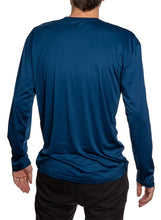 Load image into Gallery viewer, Men's Officially Licensed NHL Distressed Lines Long Sleeve Performance Rashguard Wicking Shirt- St. Louis Blues Full length Back View Photo Of Man Wearing Shirt