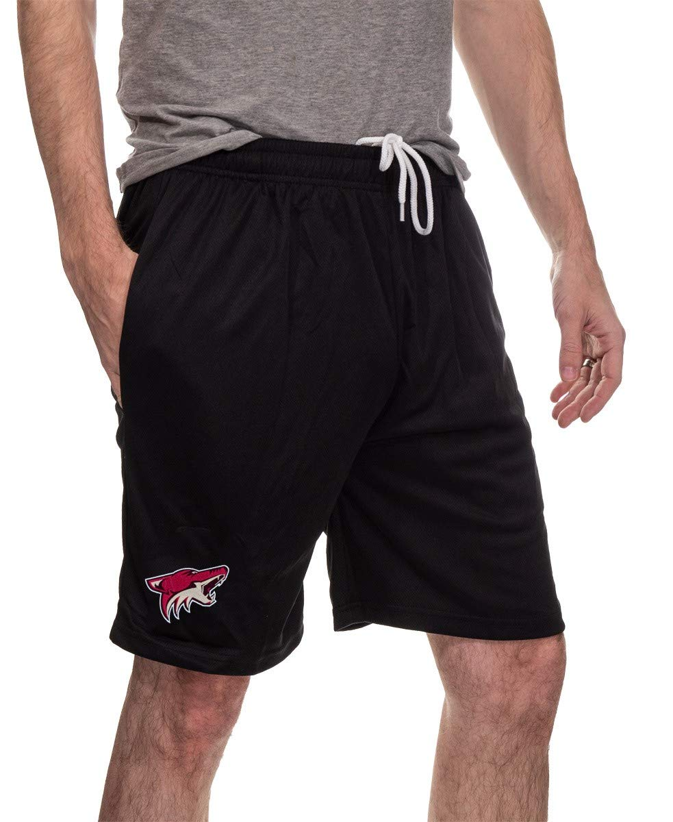 Arizona Coyotes Air Mesh Shorts Front View, In Black.