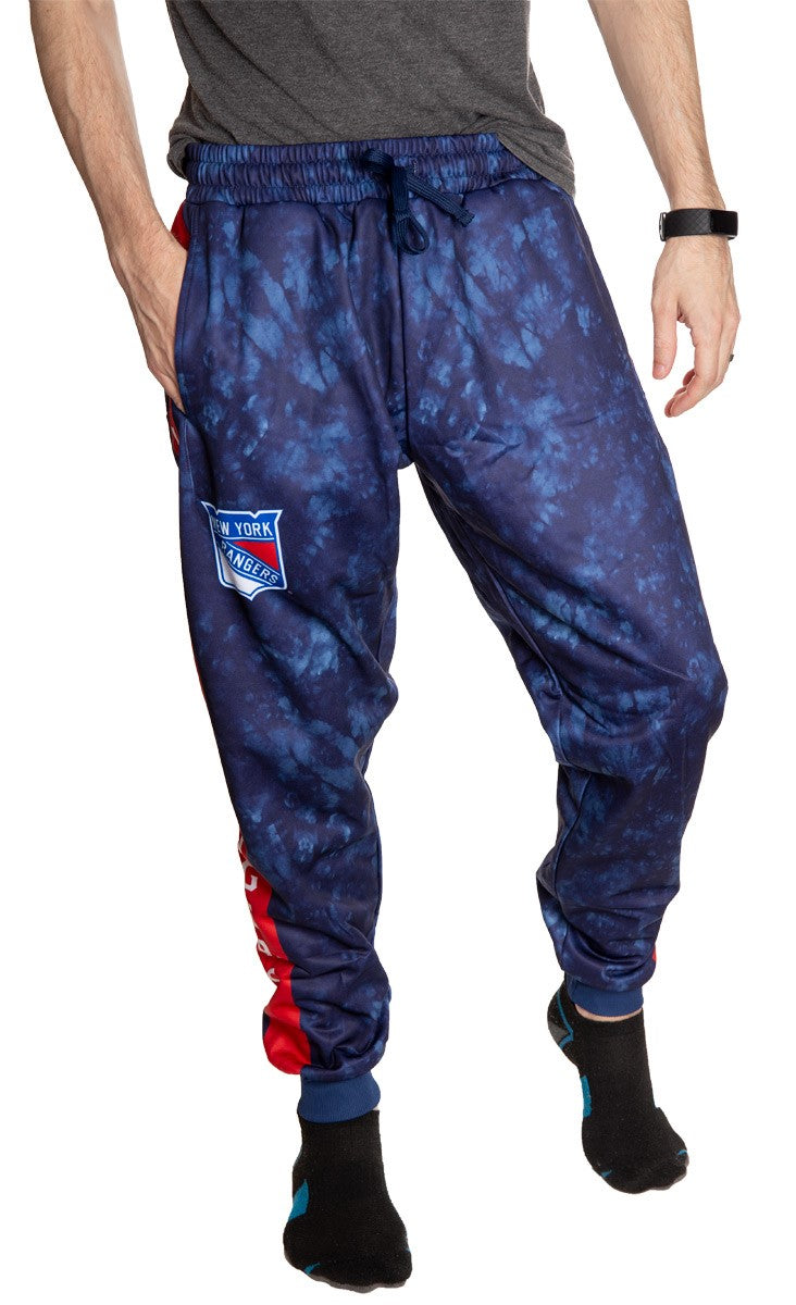 New York Rangers Tie Dye Jogger Pants for Men Front View.