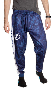 Tampa Bay Lightning Tie Dye Jogger Pants for Men Front View.