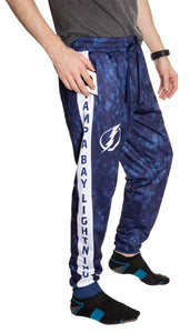 Tampa Bay Lightning Tie Dye Jogger Pants for Men Side View.