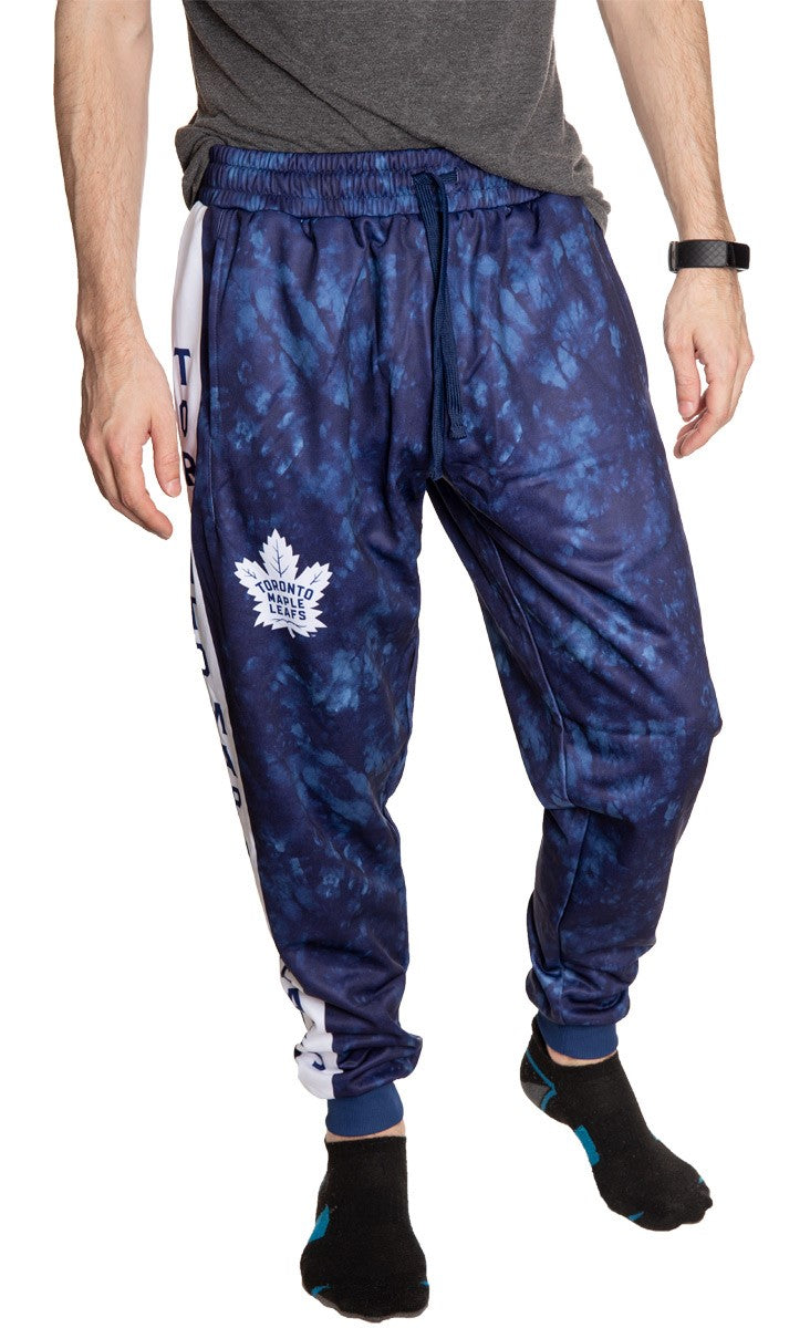 Toronto Maple Leafs Tie Dye Jogger Pants for Men Front View.