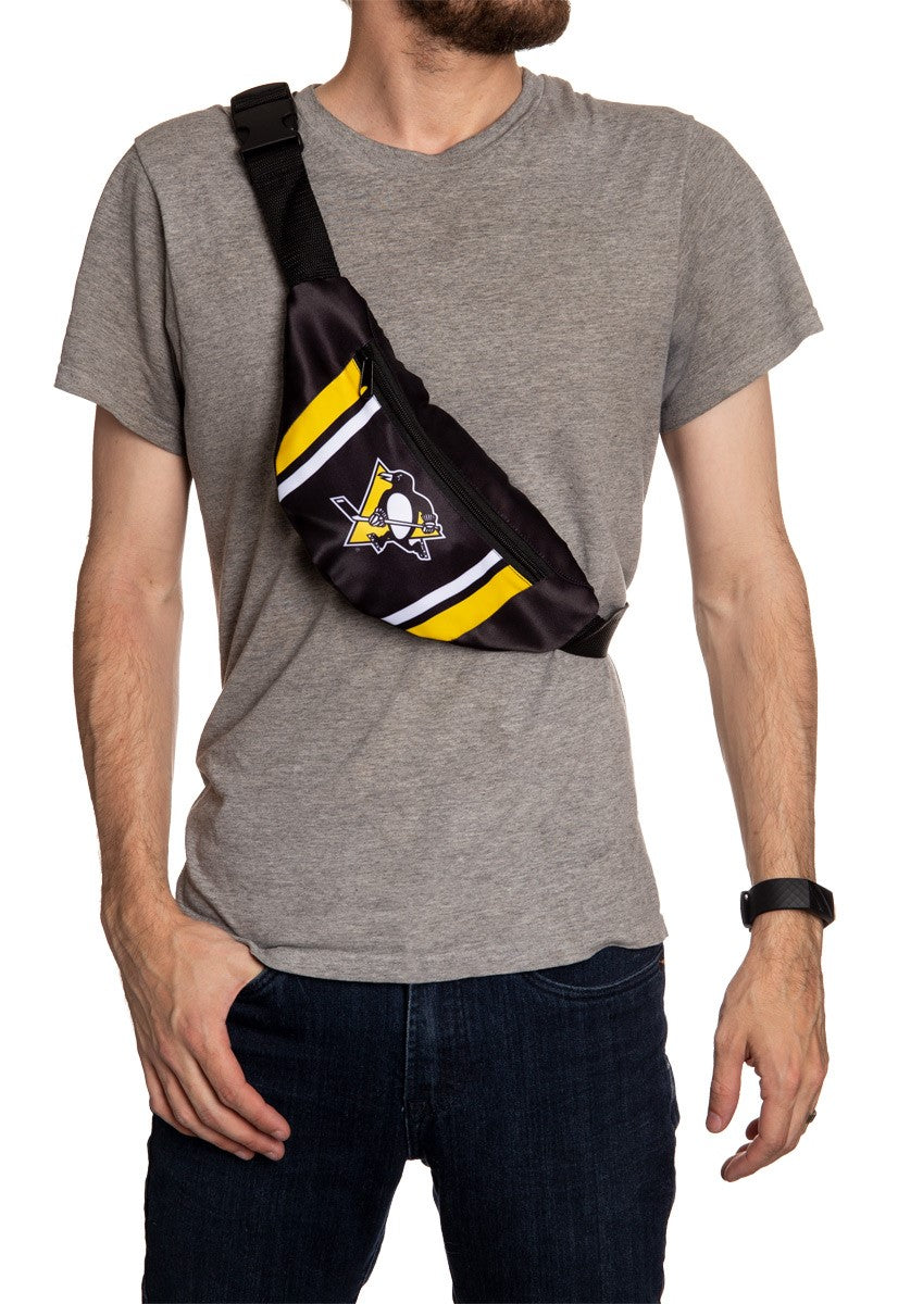 NHL Unisex Adjustable Fanny Pack- Pittsburgh Penguins Crossbody