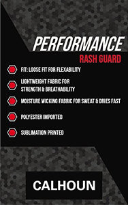 Performance Rashguard Information: Polyester Imported, loose fir for flexibility, moisture wicking fabric.