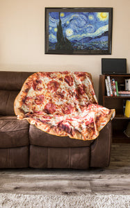 "Lifestyle Photo of Realistic Pizza 60"" Round Lightweight Fleece Blanket"