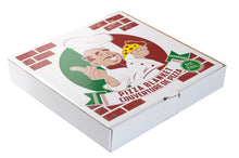 Load image into Gallery viewer, Front of the box the realistic 60 inch round pizza blanket comes in