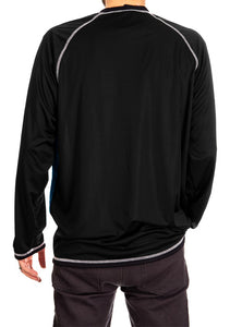 NHL Mens Long Sleeve Rashguard with Wicking Technology- Anaheim Ducks Back