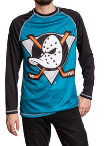 NHL Mens Long Sleeve Rashguard with Wicking Technology- Anaheim Ducks Front