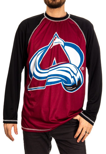 NHL Mens Long Sleeve Rashguard with Wicking Technology- Colorado Avalanche Front