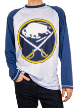 Load image into Gallery viewer, NHL Mens Long Sleeve Rashguard with Wicking Technology- Buffalo Sabres Front