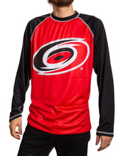 Load image into Gallery viewer, Carolina Hurricanes Jersey Style Long Sleeve Rashguard Front View, Black and Red.