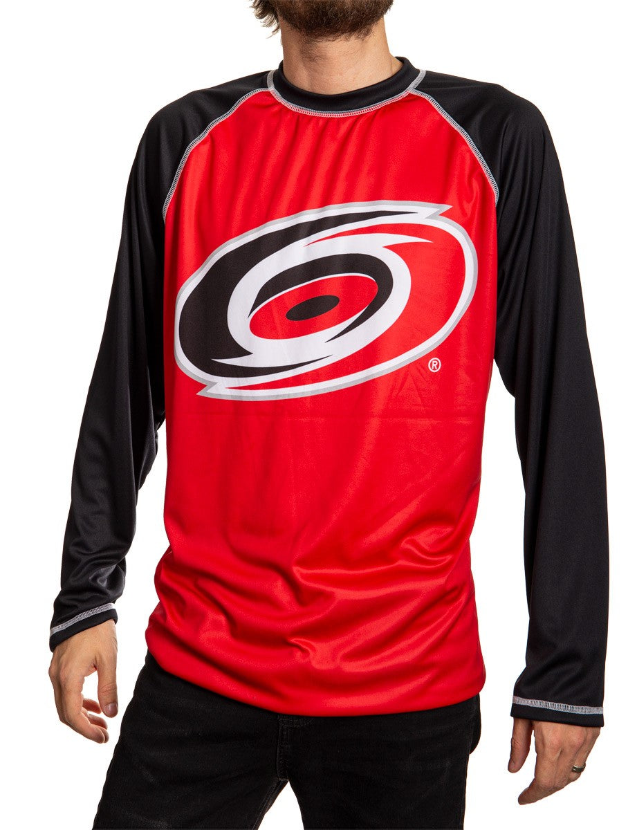 Carolina Hurricanes Jersey Style Long Sleeve Rashguard Front View, Black and Red.
