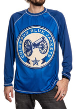 Load image into Gallery viewer, Columbus Blue Jackets Jersey Style Long Sleeve Rashguard, Two-Tone Blue.