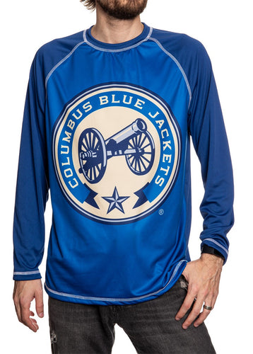 Columbus Blue Jackets Jersey Style Long Sleeve Rashguard, Two-Tone Blue.