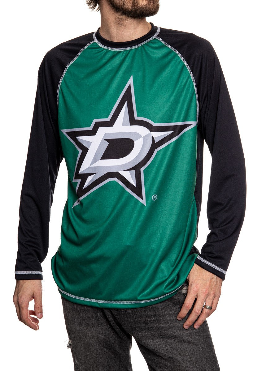 Dallas Stars Jersey Style Long Sleeve Rashguard Front View, Black and Green.
