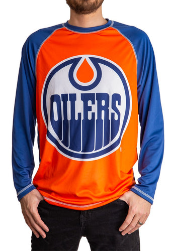 NHL Mens Long Sleeve Rashguard with Wicking Technology- Edmonton Oilers Front