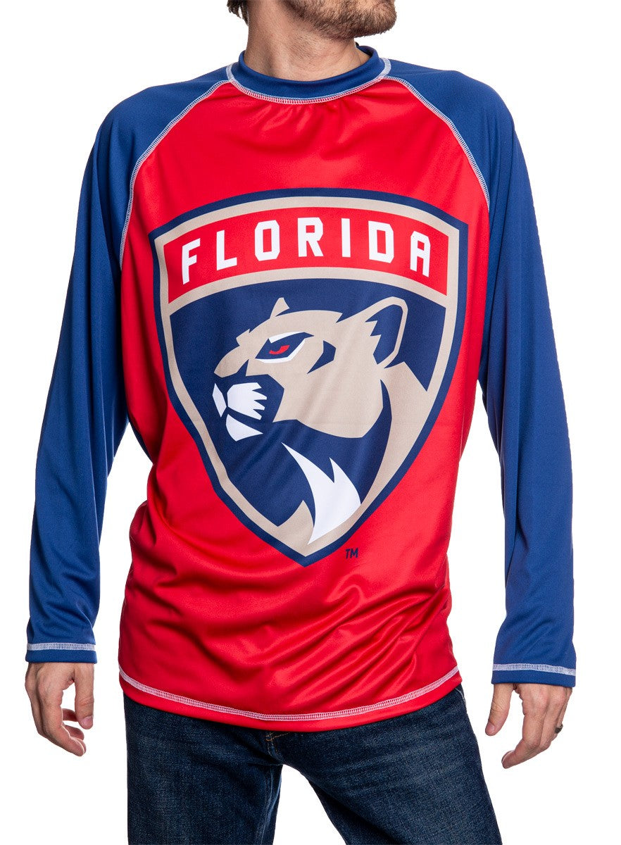 NHL Mens Long Sleeve Rashguard with Wicking Technology- Florida Panthers Front