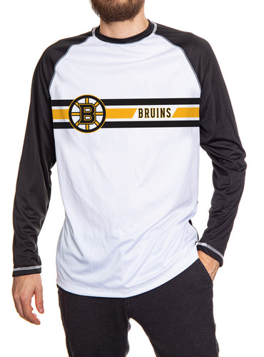 Boston Bruins Striped Long Sleeve Rashguard. White Front and Black Arms and Back.