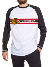 Load image into Gallery viewer, Chicago Blackhawks Striped Performance Long Sleeve Rashguard. White Front and Black Back and Arms.
