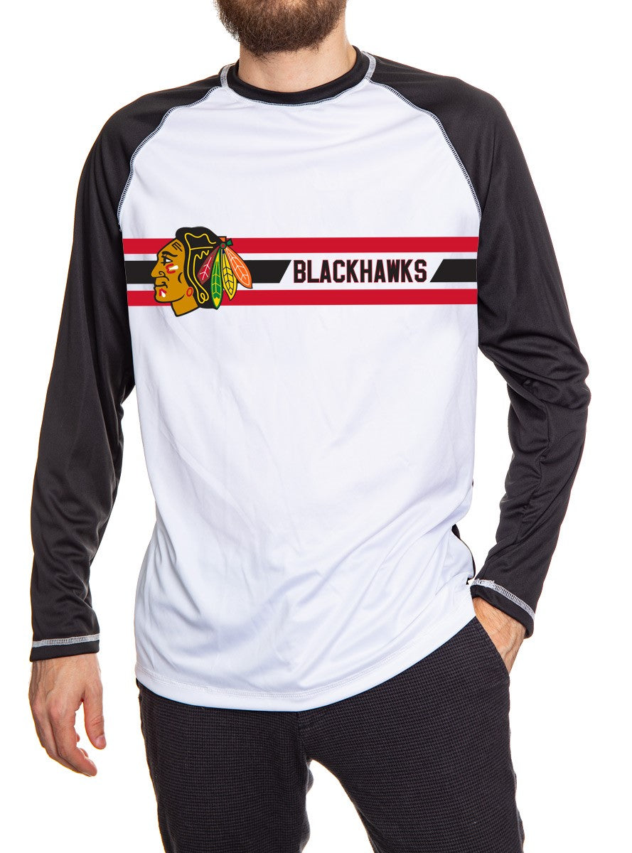 Chicago Blackhawks Striped Performance Long Sleeve Rashguard. White Front and Black Back and Arms.