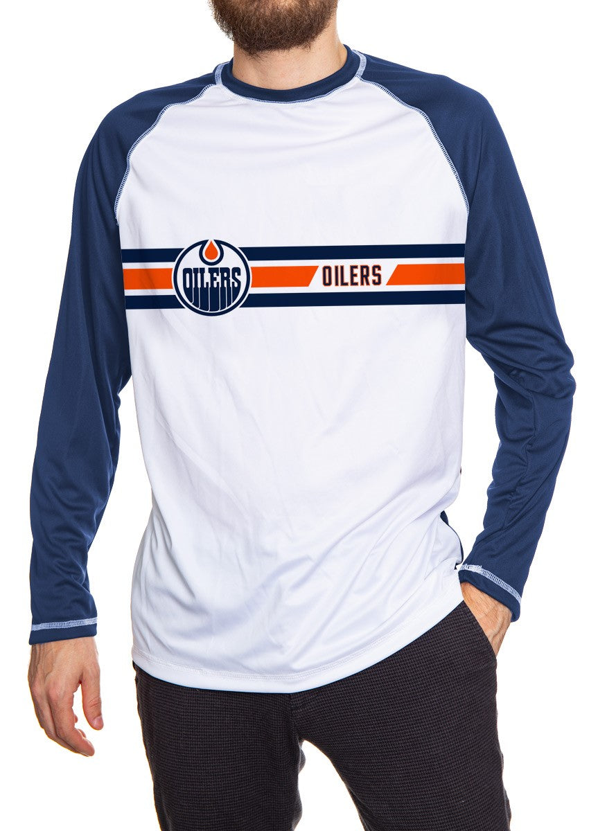 Edmonton Oilers Striped Long Sleeve Shirt Front View. White Front, Blue Arms and Back.