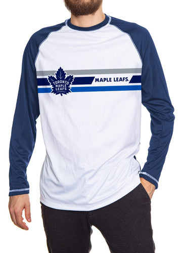 Toronto Maple Leafs Striped Long Sleeve Rashguard Front View. White Front, Blue Arms and Back.