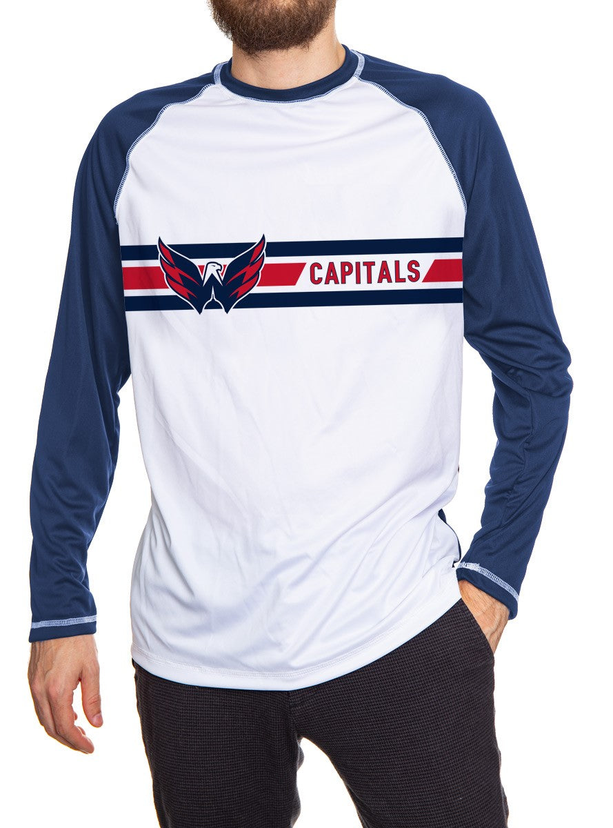 Washington Capitals Striped Long Sleeve Rashguard, White Front, Blue Arms and Back. Front View.